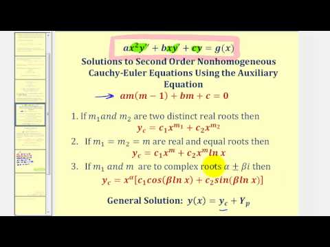 Second Order Nonhomogeneous Cauchy-Euler Differential Equations