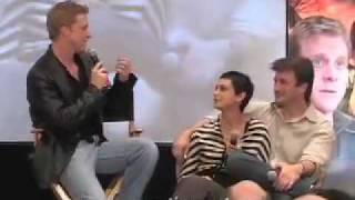 Morena Baccarin, Nathan Fillion & Alan Tudyk on stage.