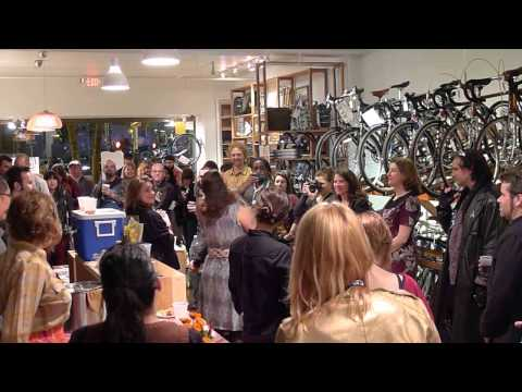 The Spinster fundraising/kickstarter kick-off party at Huckleberry bikes