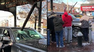 Wood from elevated subway platform crashes into car, and no one got hurt!