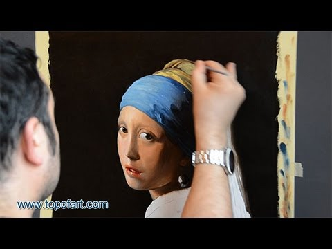 Art Reproduction (Vermeer - The Girl with a Pearl Earring) Hand-Painted Step by Step