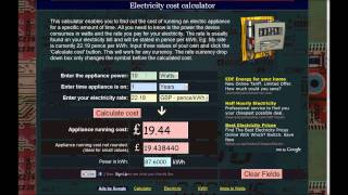 How to calculate the cost of running electric appliances - kWh calculator
