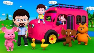 The Wheels On Bus Animated Nursery Rhyme | Jenny & Jack Kids Cartoon Songs | Nursery Kids 3D Rhymes