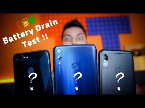 Realme 2 Vs Honor 8C Vs Redmi 6 Pro BATTERY DRAIN TEST ⚡ Who Lasts Longest??