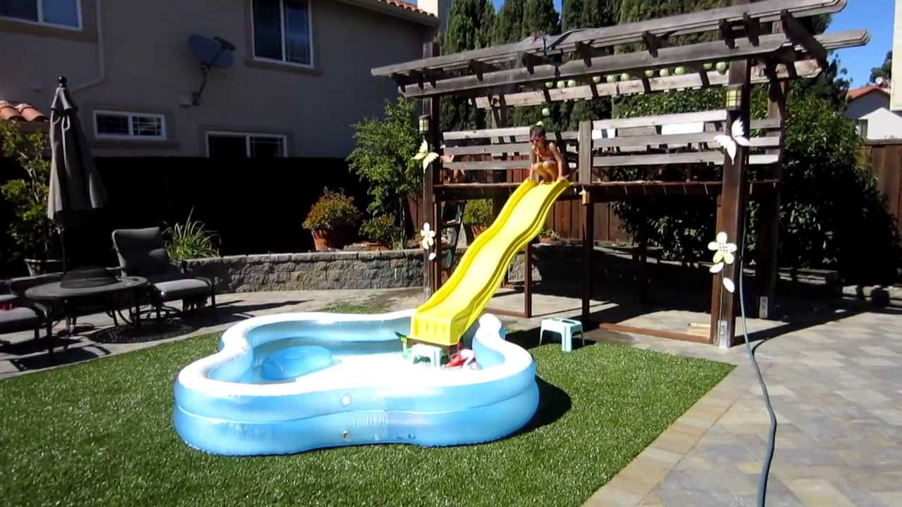 Huge Backyard Water Slide : Homemade Backyard Water Slide  Summer Fun!  YouTube