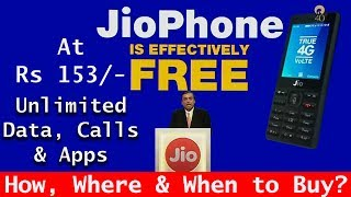 Reliance JIO phone launched at Rs 0/- with unlimited data, calls & Apps. When, how, where to Buy?