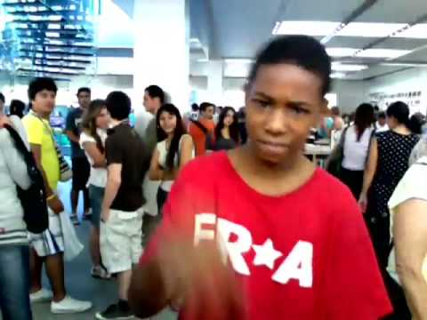 Boy dancing in the Apple Store