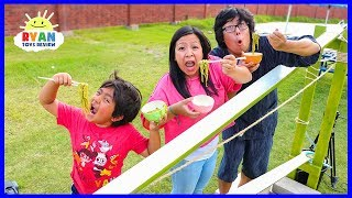 DIY Japanese Bamboo Noodle Slide Family Fun Activities!!!