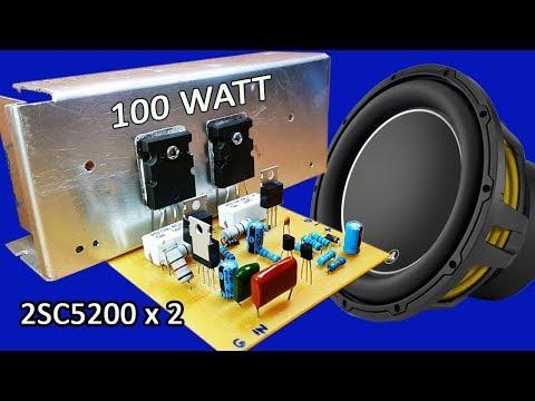 How to make mono 100W amplifier using transistors 2SC5200 x 2 at home thumbnail