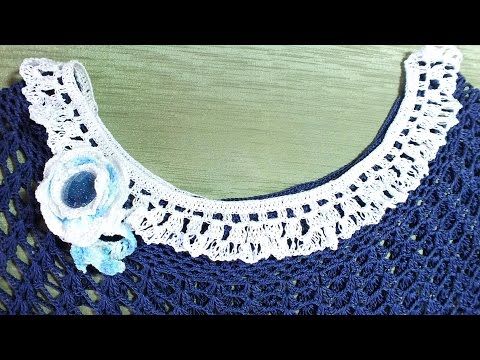 Вязание  крючком ажурный воротник Crochet collar