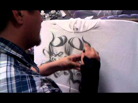 Chicano art smile now cry later drama masks  how to airbrush Tshirts script lettering all by Jaime R