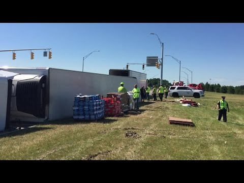 Semi truck carrying chocolate overturns near Great Northern Mall