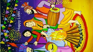 Makarsankranti special painting/Lohri celebration painting