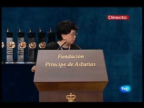 Dra. Margaret Chan, Directora OMS Recibe premio Principe de Asturias