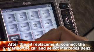 G-scan ASSYST function on a Mercedes Benz CLS 2007 W219 chassis.