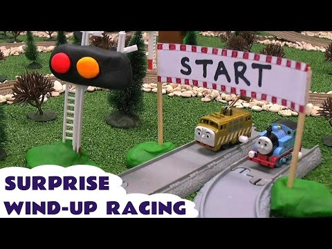 Play Doh Surprise Egg Thomas And Friends Wind Up Racers Racing Funny Face Eggs Play-doh Tomac video