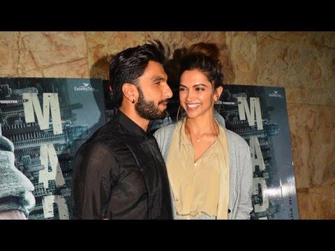 Ranveer Singh With Girlfriend Deepika Padukone Come Together At Madaari Screening