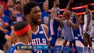 Joel Embiid shoves Jared Dudley & gets a technical foul | Sixers vs Nets