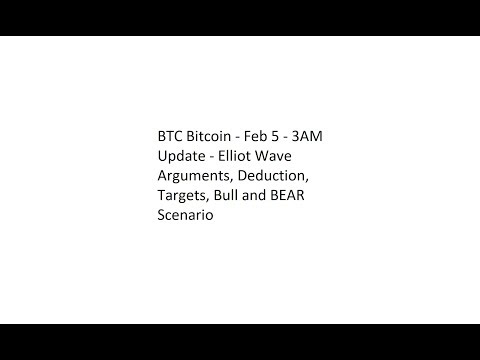 BTC Bitcoin - Feb 5 - 3AM Update - Elliot Wave Arguments, Deduction, Targets, Bull and BEAR Scenario