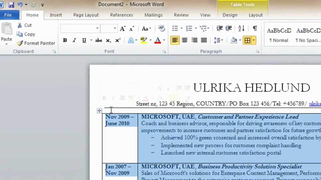 How to make a resume on word from scratch