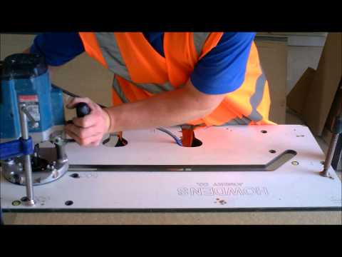 female mitre worktop cut with router and jig
