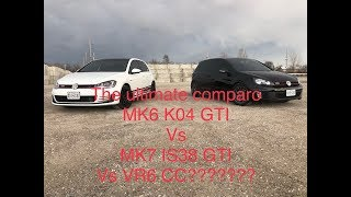 MK7 IS38 GTI vs MK6 K04 GTI comparo.....back roads BLAST with random VW CC