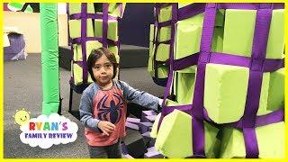 Indoor Playground Trampoline Park Center for Kids! Water Balloon challenge with Ryan