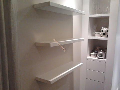 Zwevend schap of plank blind bevestigen aan muur met stalen pennen floating shelf attached to - Muur plank onder tv ...