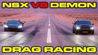 Scenic Drag Race! 840HP Dodge Demon vs Acura NSX 1/4 Mile Drag and Roll Races at the SEMA Show
