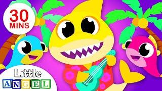 A Banda da Família Tubarão (Baby Shark)   + Vídeos Infantis   Little Angel