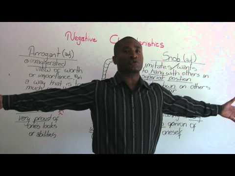 English Vocabulary – Negative Characteristics – arrogant, vain, snob…