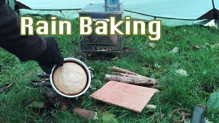 Hot Tent Wood Stove Baking Bread | Teepee Tent Rain Sounds & Category teepee camping