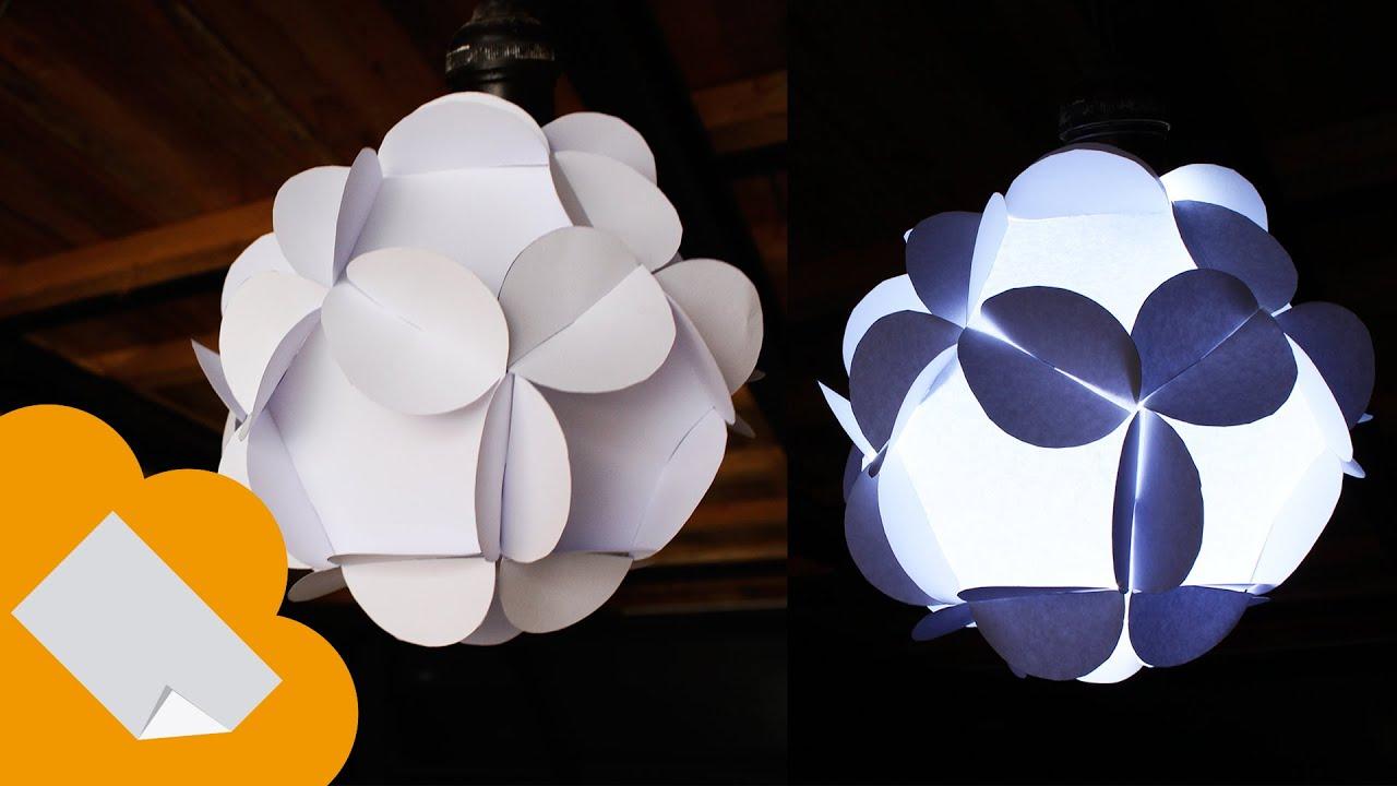 Como hacer lampara de papel 12 piezas youtube - Lamparas de pie de papel ...