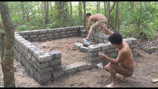 Primitive technology with survival skills Wilderness build house Roman part 2