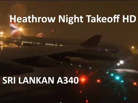 Sri Lankan Airlines Takeoff from Heathrow (Night/Snow)