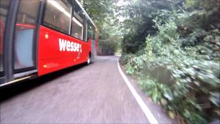 26 09 2013 Wessex Bus MGIF nearly causing head on collision with on coming traffic