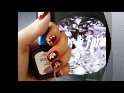 Diseños en uñas cortas. BLANCO & ROJO.wmv