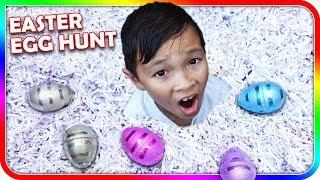 Easter Egg Hunt in Trash Can Full of Shredded Paper - SuperBaby Colors