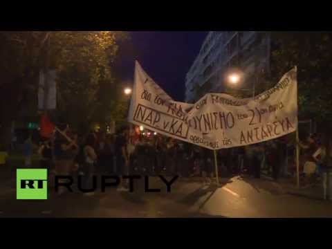 Greece: EU flag burns in anti-austerity trade union protest