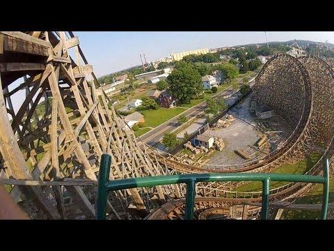Hersheypark Lightning Racer POV HD Thunder Roller Coaster Front Seat Ride GoPro Video Wooden