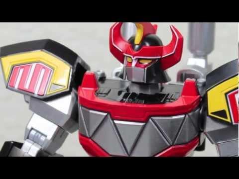 Mighty Morphin Power Rangers Super Robot Chogokin Daizyujin Aka Dino Megazord Figure Review video