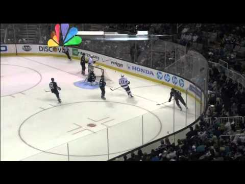 Logan Couture injury on Jeff Carter hit May 18 2013 LA Kings vs SJ Sharks NHL Hockey