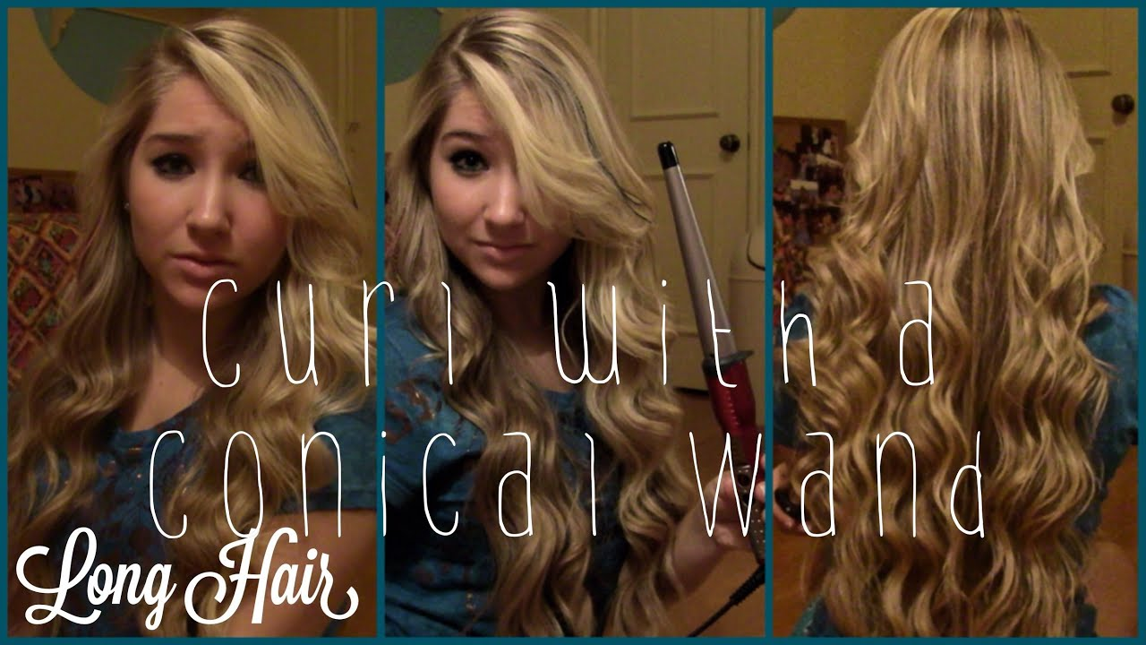 How To Curl With A Conair Conical Wand Long Hair Youtube