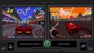 Super GT 24h (Arcade vs Sega Saturn) Side by Side Comparison (GT24)
