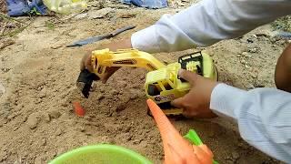 Xe xúc cát đào được một bầy khủng long và trứng khủng long