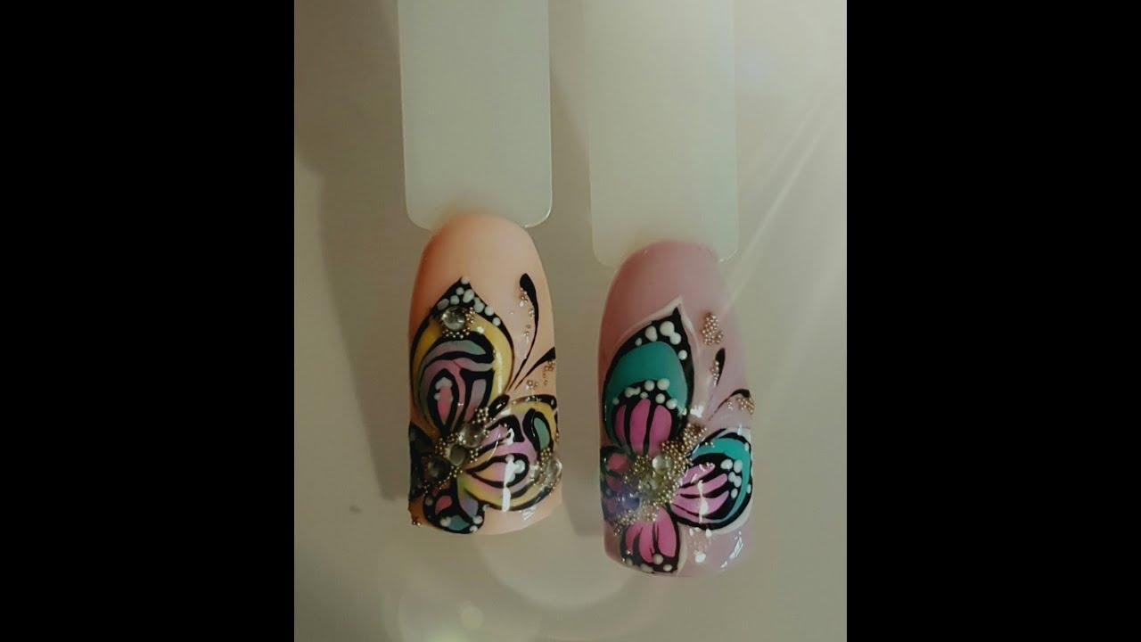 Бабочка на ногтях пошагово фото