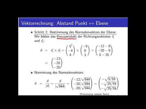 Vektorrechnung Teil 23: Beispiel für Abstand Punkt/Ebene im Raum