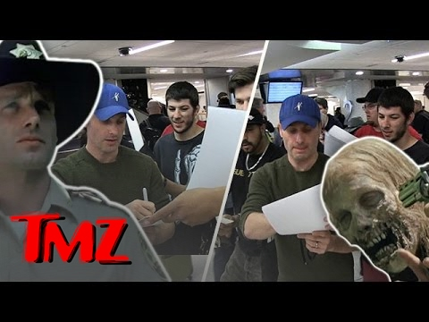 Andrew Lincoln Signs A Billion Autographs At LAX!