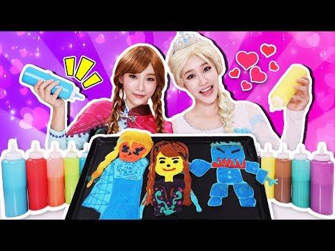 [엘사 VS 안나] 겨울왕국 팬케이크 챌린지 대결 Pancake art Challenge