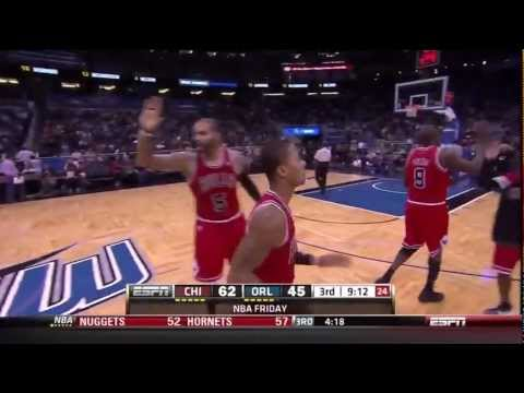Derrick Rose Alley-Oop From Luol Deng vs Magic (1/06/12)